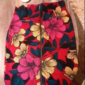 Super high waisted floral pencil skirt